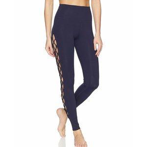 Alo Yoga Interlace Navy Blue Lace Panel Leggings